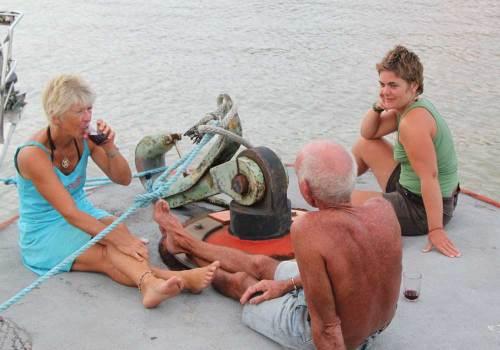 people on a buoy Panama Canal