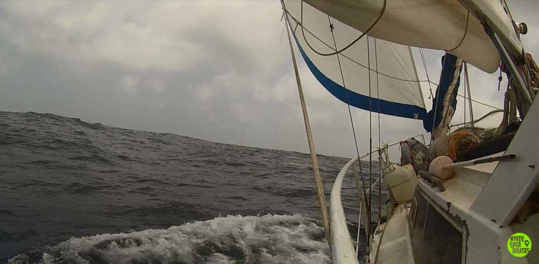 sailboat karl underway in the caribbean sea