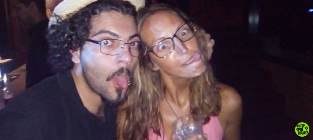man and woman making funny faces