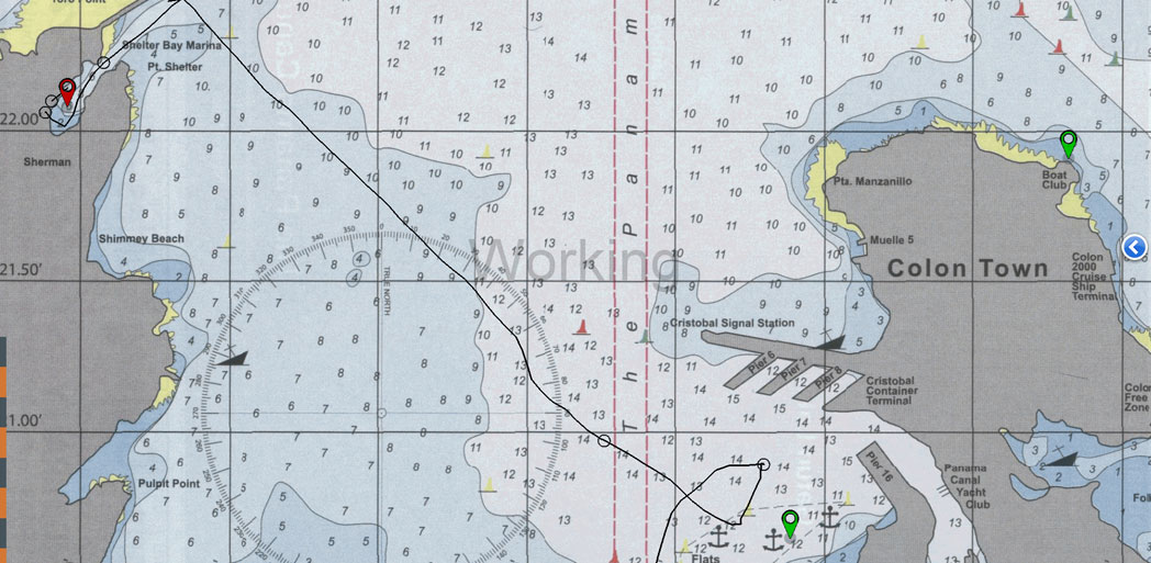 Screenshot of navigation chart panama canal the flats